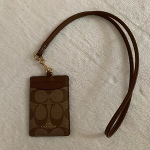 Coach Signature Monogram Lanyard/ID Pouch